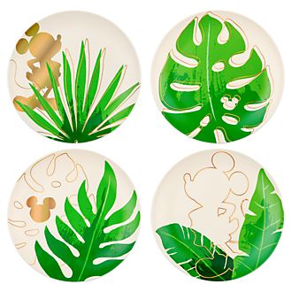 Piatti Topolino collezione Tropical Hideaway Parchi Disney, set di 4