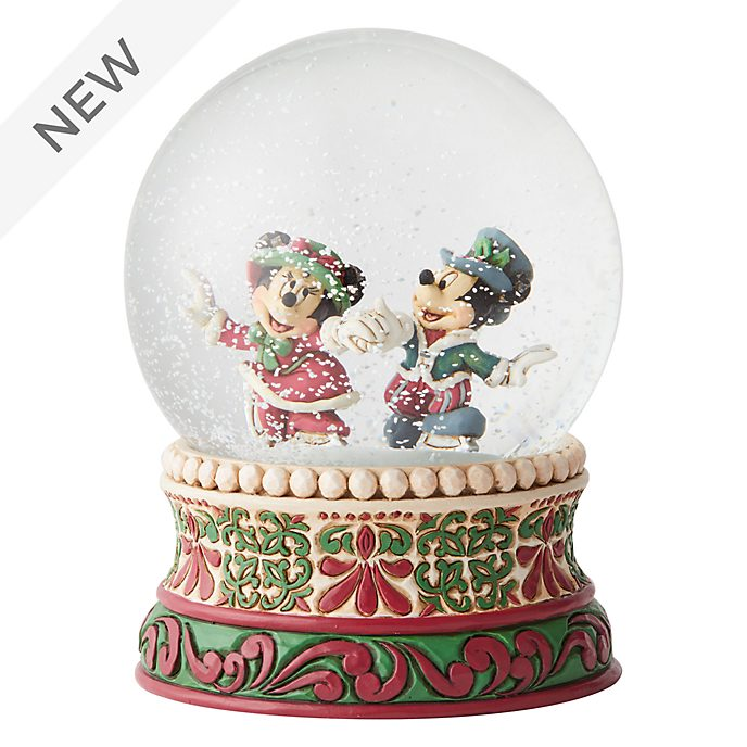 Enesco Mickey and Minnie Splendid Skaters Snow Globe