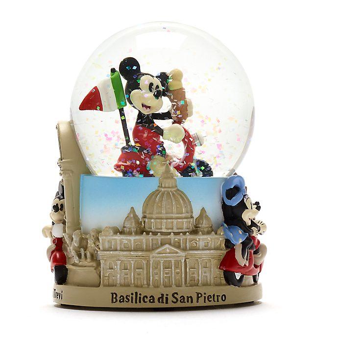 Disney Store Mickey and Minnie Rome Snow Globe
