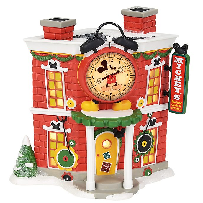Enesco Mickey's Alarm Clock Shop Disney Village Figurine