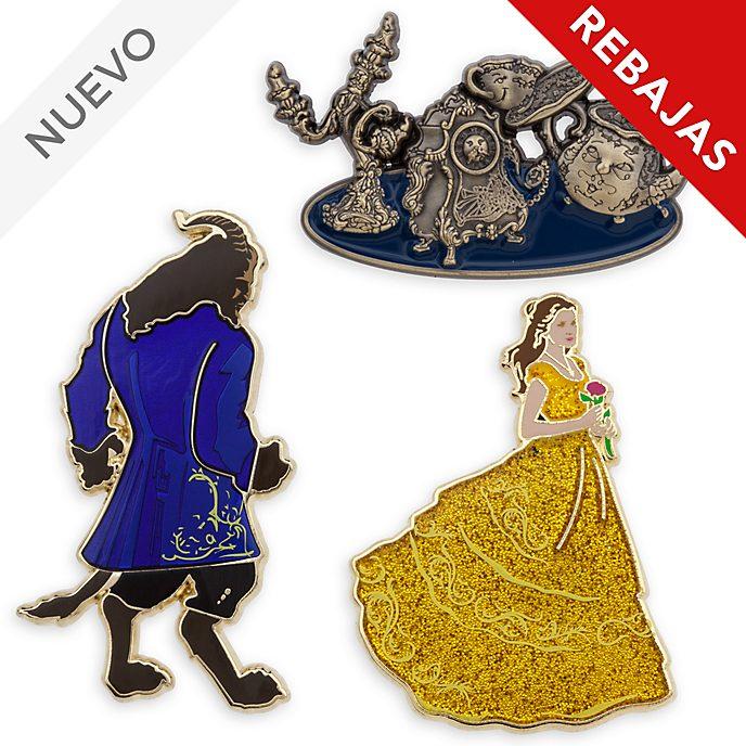Pins de La Bella y Bestia Edición limitada, set de 3