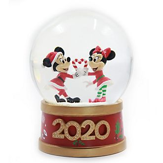 Disney Store Mickey and Minnie Holiday Cheer Snow Globe