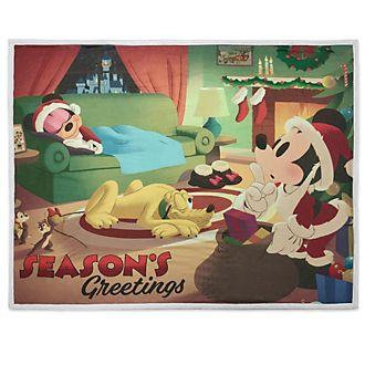 Manta polar reversible navideña Mickey, Minnie y Pluto, Disney Store