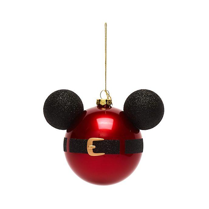 Disney Store - Micky Maus - Dekorationsstück zum Aufhängen - Micky Symbol im Mantel des Weihnachtsmanns