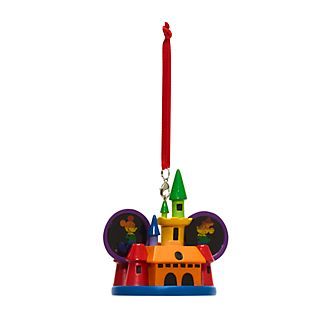 Disney Store Mickey and Minnie Rainbow Castle Hanging Ornament