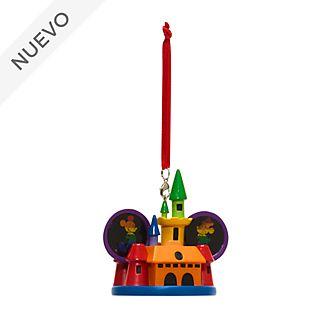 Adorno colgante castillo arcoíris Mickey y Minnie, Disney Store