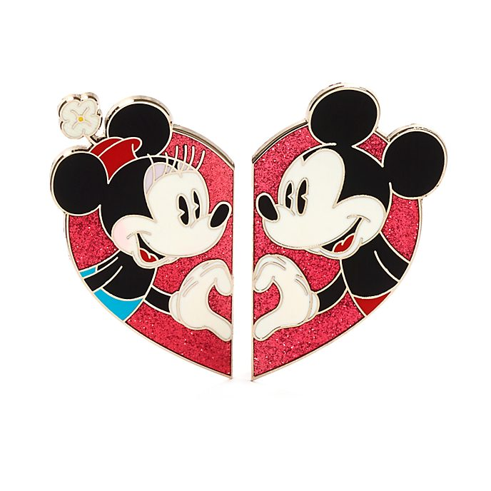 Disney Store Mickey and Minnie Heart Pin Set
