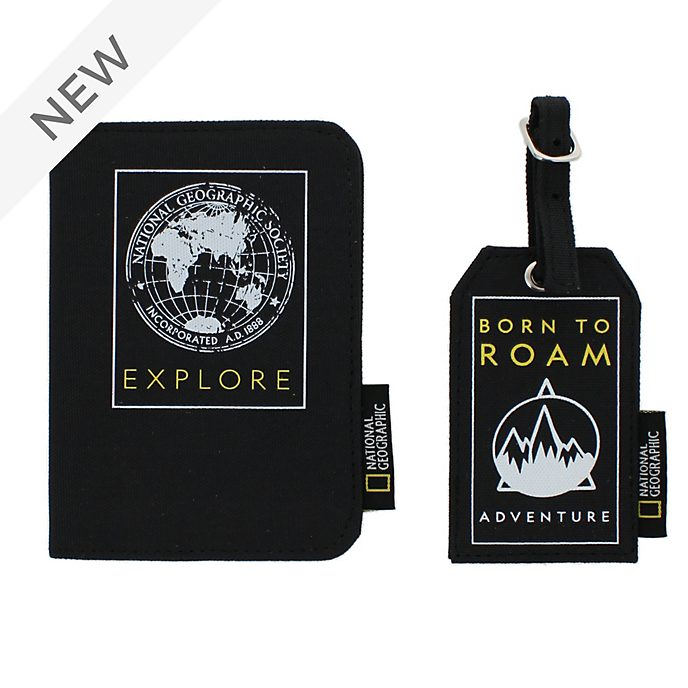 Disney Store National Geographic Passport Holder and Luggage Tag Set