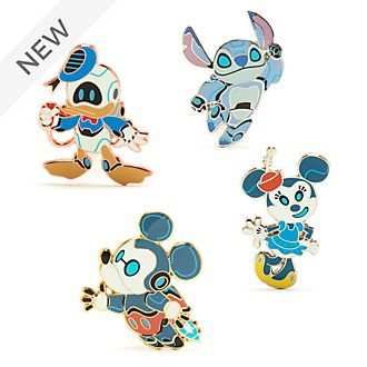 Disney Store Mickey and Friends Robots Pin Set