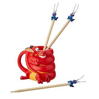Disney Store - Mulan - Mushu und Kriki - Bleistifthalter und Bleistifte