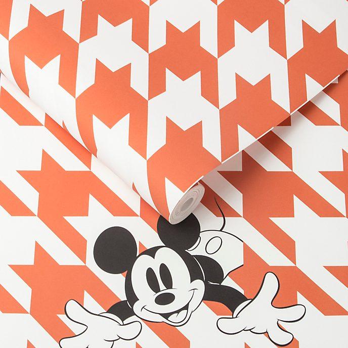 Kelly Hoppen papel pintado Mickey Mouse pata de gallo naranja