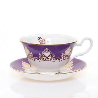 Taza té y platito porcelana fina ceniza hueso Rapunzel English Ladies Co.