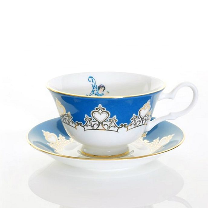 Taza té y platito porcelana fina ceniza hueso Blancanieves English Ladies Co.