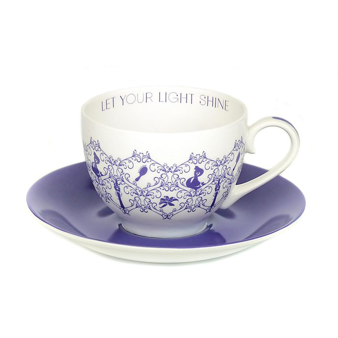 Taza té y platito porcelana ceniza hueso Rapunzel, English Ladies Co.