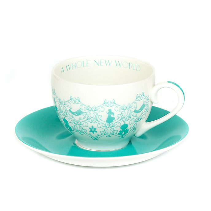 Platito y taza de té porcelana ceniza hueso Jasmine, English Ladies Co.