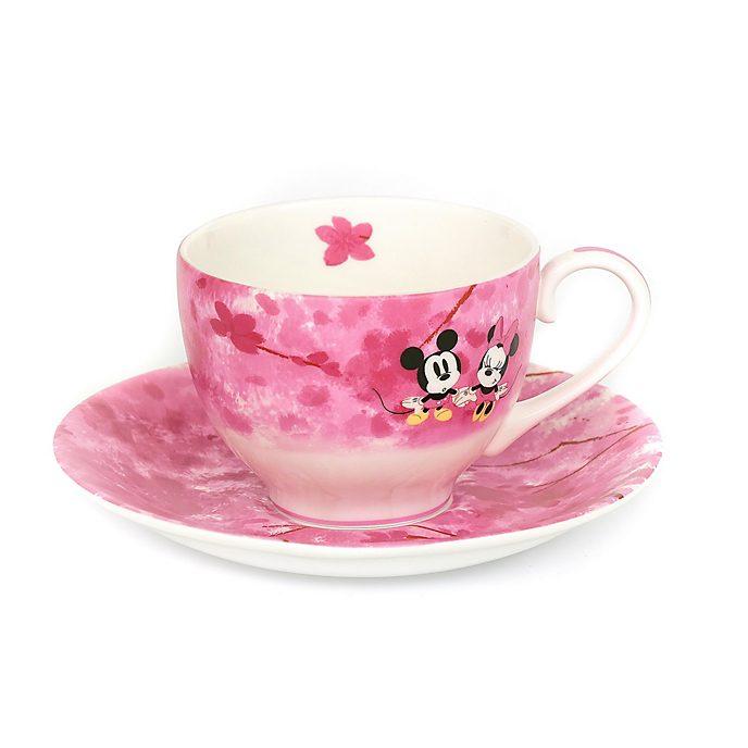 English Ladies Co. Tasse et soucoupe Mickey et Minnie en porcelaine fine avec motif printemps