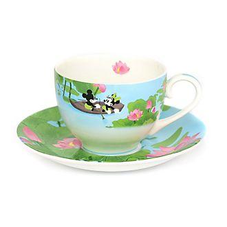 English Ladies Co. Tasse et soucoupe Mickey et Minnie en porcelaine fine avec motif été
