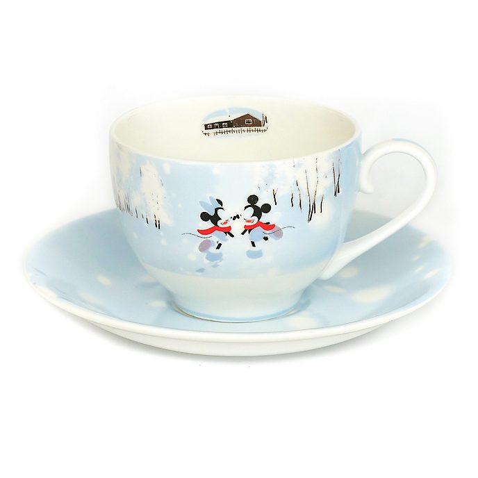 English Ladies Co. Taza de té y platillo porcelana fina invierno Mickey y Minnie