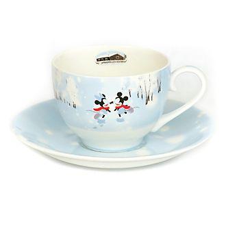 Personaggio in rilievo in porcellana Tazza da tè e piattino in porcellana fine Topolino Minni e l'inverno