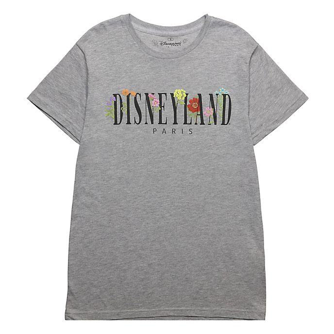Disneyland Paris Grey World Flowers T-Shirt For Adults