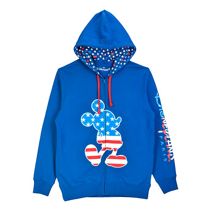 Disneyland Paris Mickey Mouse Americana Zip-Up Hooded Sweatshirt For Adults