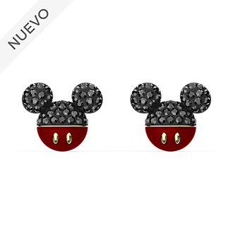 Pendientes de botón bañados en oro, icono Mickey Mouse, Swarovski