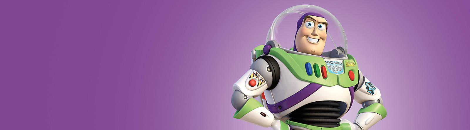 Buzz Lightyear Fliege mit Buzz und der sprechenden Actionfigur, der Spielzeugkanone, der Tasse, dem Stofftier oder einem Spielset bis zur Unendlichkeit, und noch viel weiter.